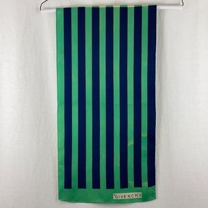 Vintage Givenchy Green Striped Silk Scarf